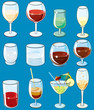 Glass with Alcoholical Drinks. Vector Clip Art