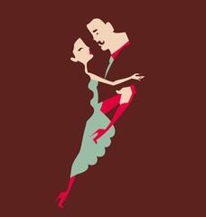 man and woman dancing pair vector illustration