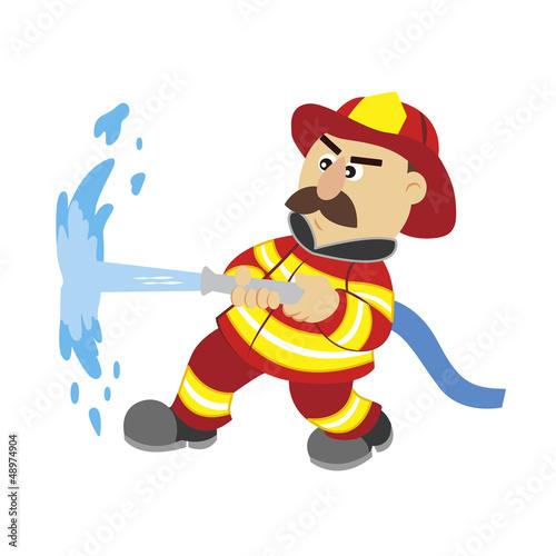 an illustration of cartoon fireman ,vector