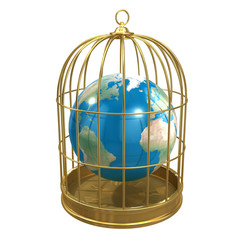 Birdcage with Planet Earth trapped inside