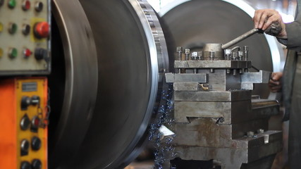 Lathe in a metal processing industry