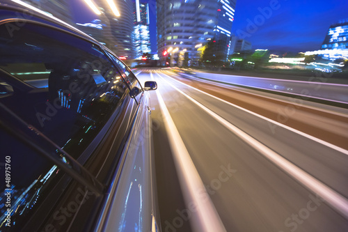 Foto op Canvas Europa Driving in the night city.