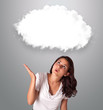 attractie woman looking abstract cloud copy space