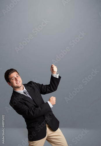 Young man gesturing with copy space