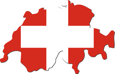 Map of Switzerland with national flag