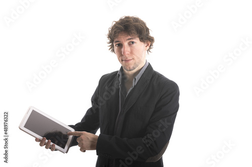 Businessman holding his tablet