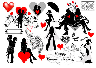 Couple silhouettes set for valentine's design