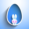 Cute Easter Bunny in the Easter Egg on blue. EPS 10.