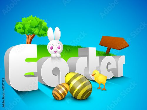 Easter background with cute bunny, painted eggs, little chicks a