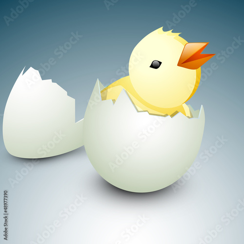 Little Easter Chicks coming out from egg. EPS 10.