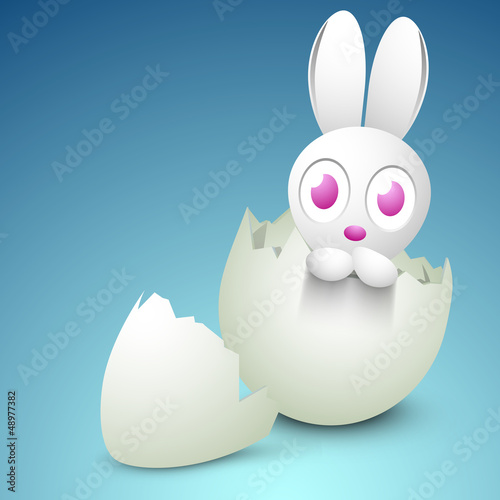Little Easter Bunny coming out from egg. EPS 10.