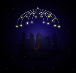 building city , moon AND umbrella made of stars