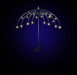 Umbrella Icon Shape made of stars