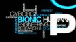 Cyborg bionic human biotechnology word tag cloud animation