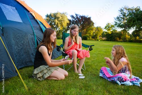 three girls camping