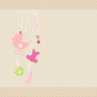 Card Baby Symbols Girl Dots Border