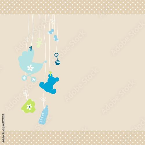 Card Baby Symbols Boy Dots Border