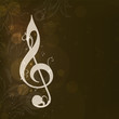 Abstract Musical Note on grungy brown background.