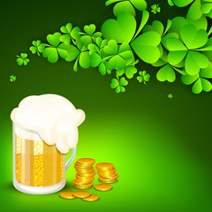 Saint Patrick's Day background or greeting card with shamrocks,