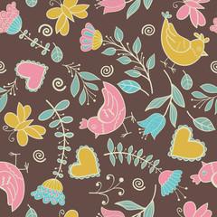 Flower, hearts, birds seamless