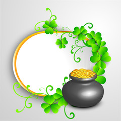 Irish four leaf lucky clovers with golden coins pot, flyer or ba