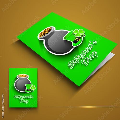 St. Patrick's Day greeting card or flyer with golden coins pot,