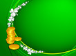 Irish four leaf lucky clovers and golden coins background for Ha