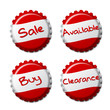 Set of red bottle caps isolated on white background
