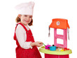 beautiful little girl play cooking
