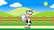 Cow running with a glass of milk