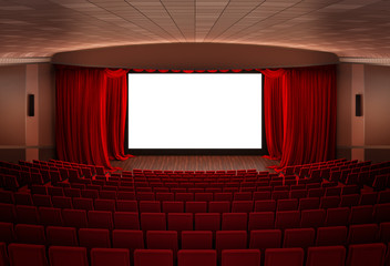 Cinema  stage with red curtains