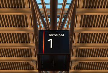 Terminal Schild unter Dachkonstruktion