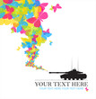 Abstract vector illustration with tank and butterflies. Place fo