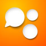 Paper white round speech bubbles.