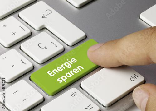 canvas print picture Energie sparen tastatur. Finger
