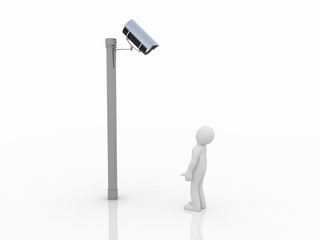 Security camera and man on white background. Isolated 3D image