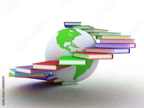 Globe of books. Isolated on white. 3D images.