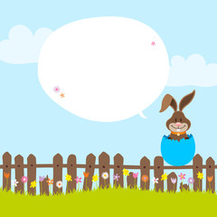 Bunny On Fence In Blue Eggshell Speech Bubble