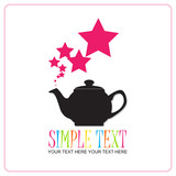 Abstract illustration of teapot with stars. Place for your text.