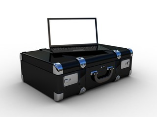 laptop in the suitcase, 3D