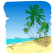 Summer beach with palm trees in sketch-style. Vector illustratio
