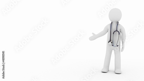 The doctor and stethoscope on a white background, 3D