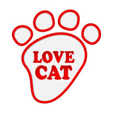Paw print stickers with text love cat.