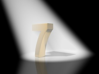 Number 7  from gold solid alphabet.