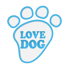 Paw print stickers with text love dog.