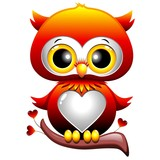 Baby Owl Love Cartoon Gufo Cucciolo di Cuori e Amore-Vector