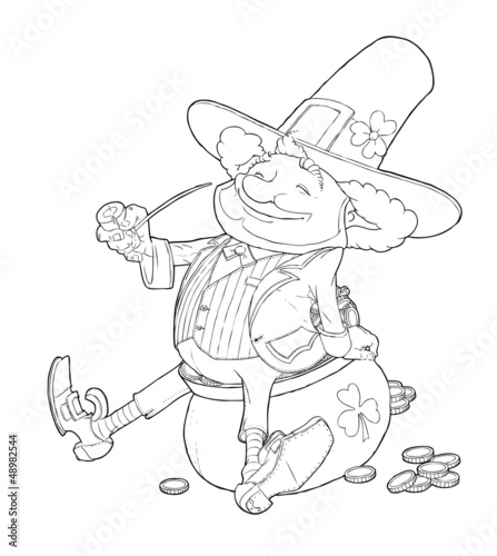 elf leprechaun smoking pipe for saint patrick's day vector