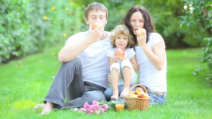 Happy family having picnic in spring park