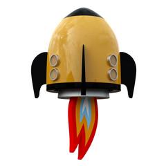3D illustration of cartoon rocket over white background