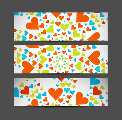 Valentine's Day Set of cute hearts header vector illustration